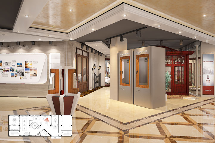 博乐之星门窗展厅设计|门窗加盟店设计|建材品牌连锁图片