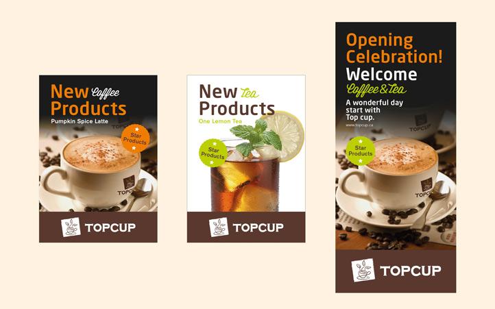 也许有一天你去温哥华,在街头大大小小形式各异的咖啡屋中,你能一眼记住它的模样,这是由于它的形象设计中那一丝与众不同的东方味道。这也正是TOPCUP创始人Cherry的初衷,把TOPCUP打造成温哥华独树一帜的把咖啡和茶文化相结合、以咖啡的形式传承茶文化的休闲品牌。 美御有幸成为TOPCUP的合作伙伴,为其塑造整体品牌形象。整个项目作业历时2个月左右。TOPCUP品牌整体形象以褐色为主,整个logo设计以图形加文字形式,图形以咖啡杯和茶叶的形象演绎,形象而又简易,完美的诠释了以咖啡形式传承茶文化的品牌